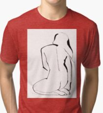 Nude Model Pose Drawing Tri-blend T-Shirt