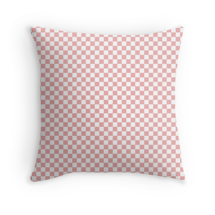 Lush Blush Pink and White Checkerboard Squares