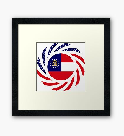 Georgian Murican Patriot Flag Series Framed Print