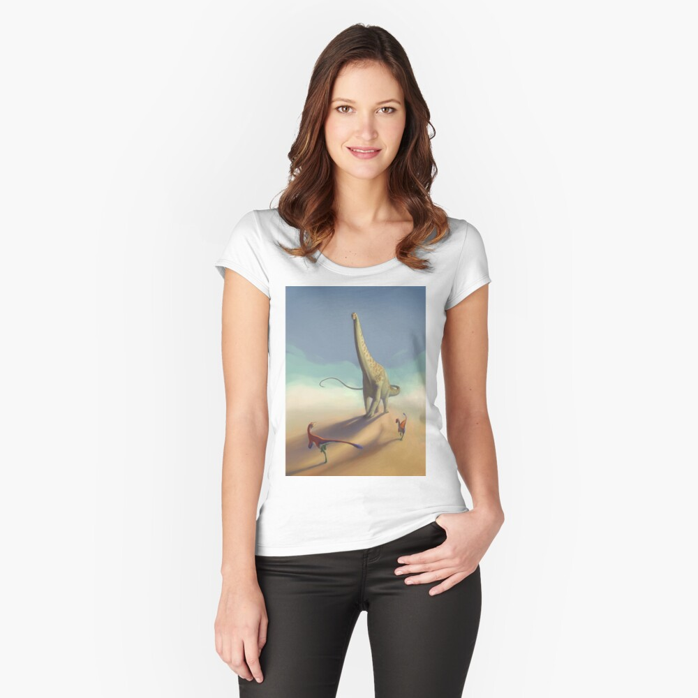 Diplodocus and Ornitholestes Fitted Scoop T-Shirt
