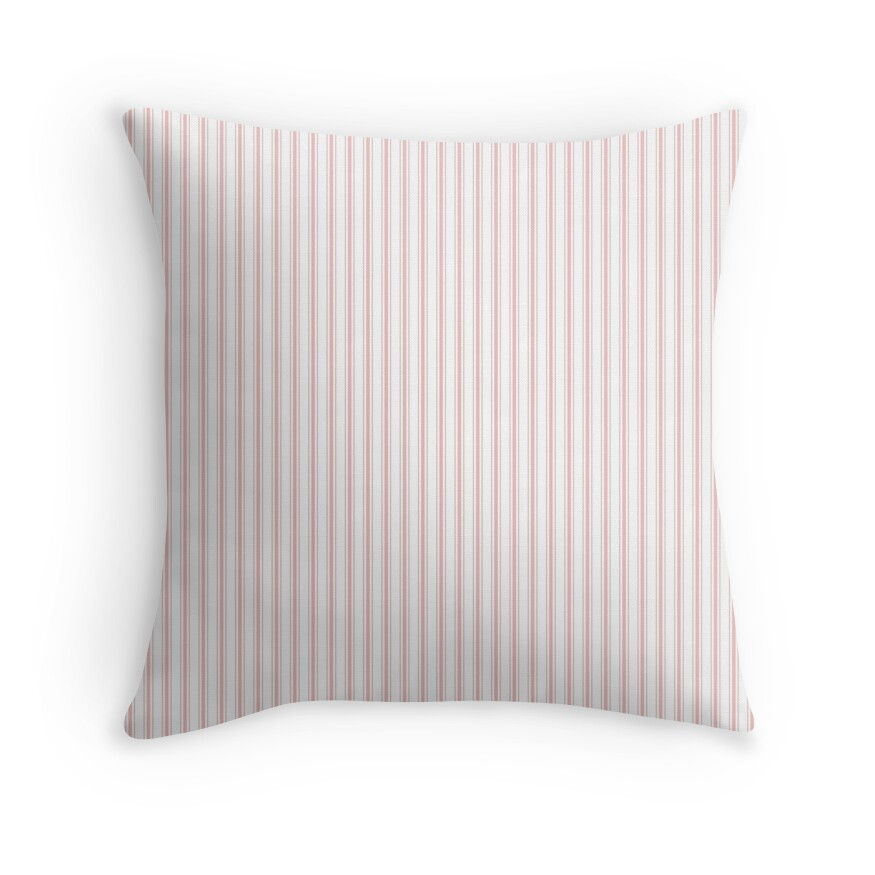 Thin Lush Blush Pink and White Mattress Ticking Stripes