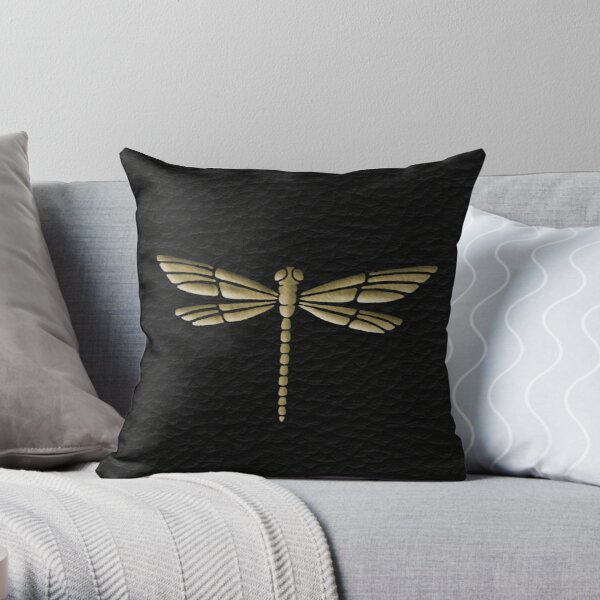 Gold Dragonfly embossed look on black leather look  Throw Pillow
