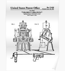 Robert the Robot Toy Patent Black Poster