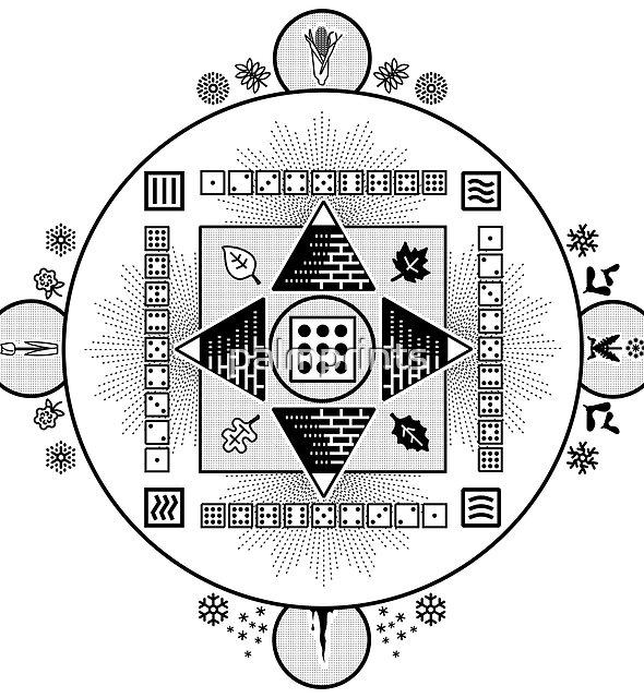 Seasonal Mandala w Transparent Background by palmprints