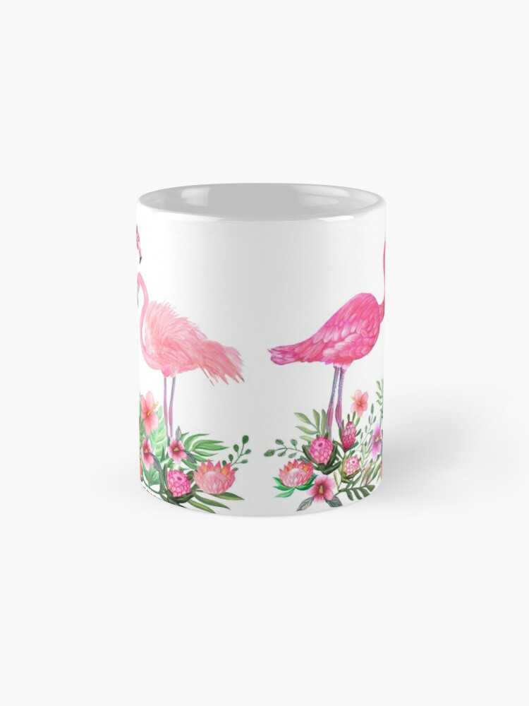 Alternate view of Pink Flamingo Watercolor painting with Protea, Hibiscus and Palms Mug