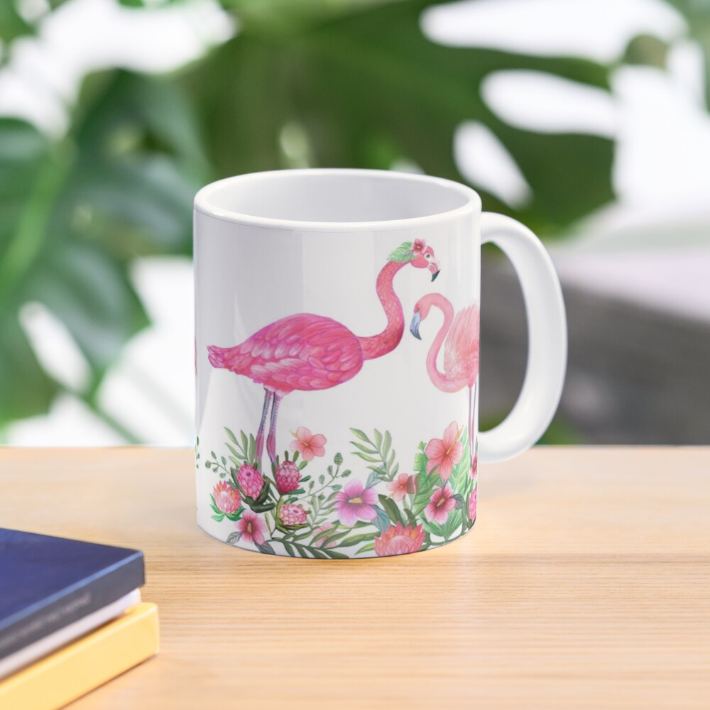 Pink Flamingo Watercolor painting with Protea, Hibiscus and Palms Mug