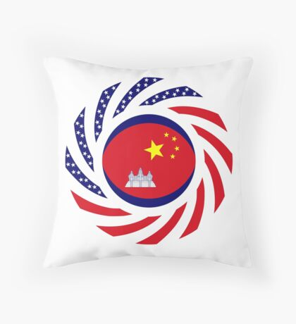 Chinese/Cambodian American Multinational Patriot Flag Series Throw Pillow