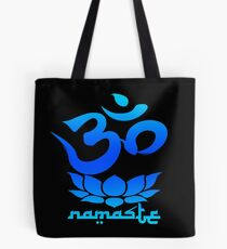 Namaste Symbol with Lotus Flower (blue version) Tote Bag