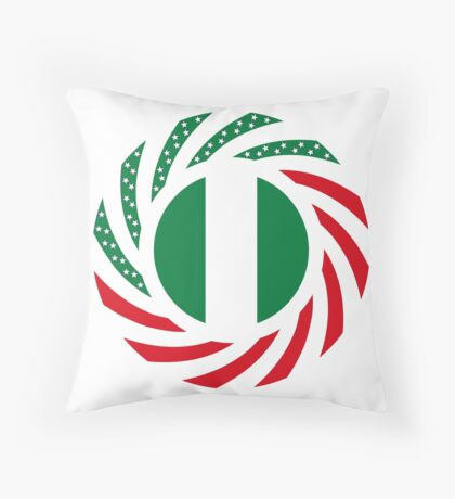 Nigerian American Multinational Patriot Flag Series Throw Pillow