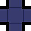 White Hairline Square on Deep Blue Board by Istvan Ocztos