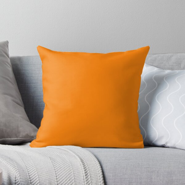PLAIN BRIGHT NEON FLUORESCENT ORANGE - OVER 60 ORANGES IN THE OZCUSHIONS RANGE Throw Pillow