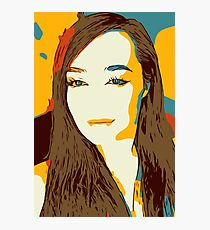 Abstract illustration of a girl. Pop art illustration of a smiling girl Photographic Print