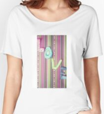 LOVE on stripey design paper Women's Relaxed Fit T-Shirt