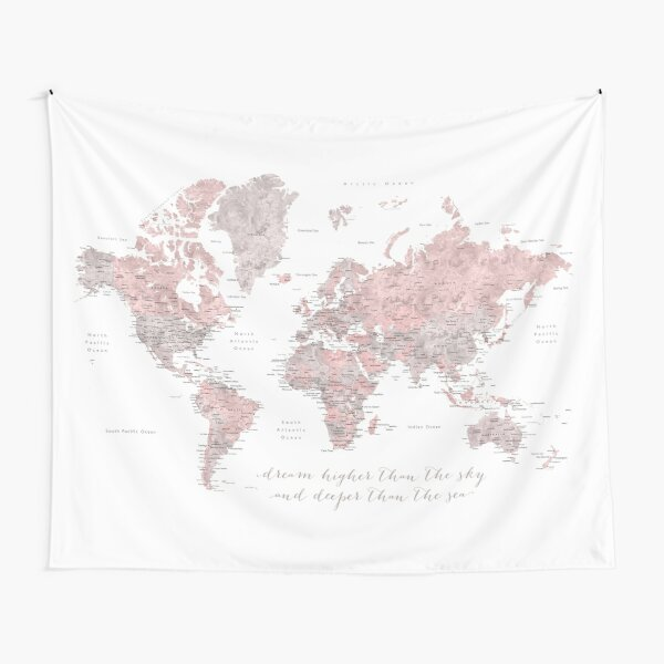 Inspirational watercolor world map with cities in dusty pink and grey Tapestry