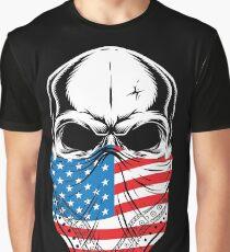 Skull with American Flag banana  Graphic T-Shirt