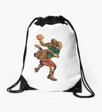 Basketball Player Dunking Blocking Retro Drawstring Bag