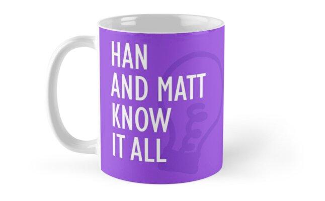 Han and Matt Know It All Mug Purple by hannahandmatt