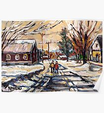 BEST ORIGINAL QUEBEC PAINTINGS WINTER WALK IN THE COUNTRY Poster