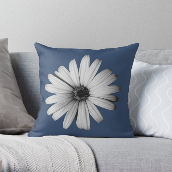 Daisy Black and White Throw Pillow
