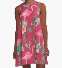 Flamingo Watercolor painting with Protea, Hibiscus and Palms A-Line Dress