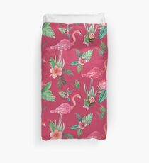 Flamingo Watercolor painting with Protea, Hibiscus and Palms Duvet Cover