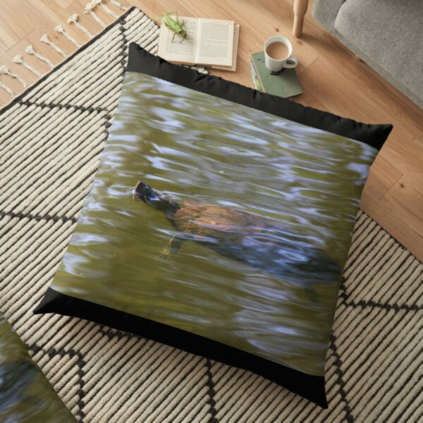 turtle swimming at Trojan pond, near Goble, Oregon 2 Floor Pillow