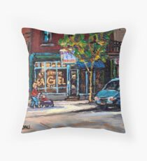 BEST AUTHENTIC ORIGINAL MONTREAL ART RUE ST.VIATEUR BOULANGERIE ST.VIATEUR  MONTREAL CITY SCENES Throw Pillow