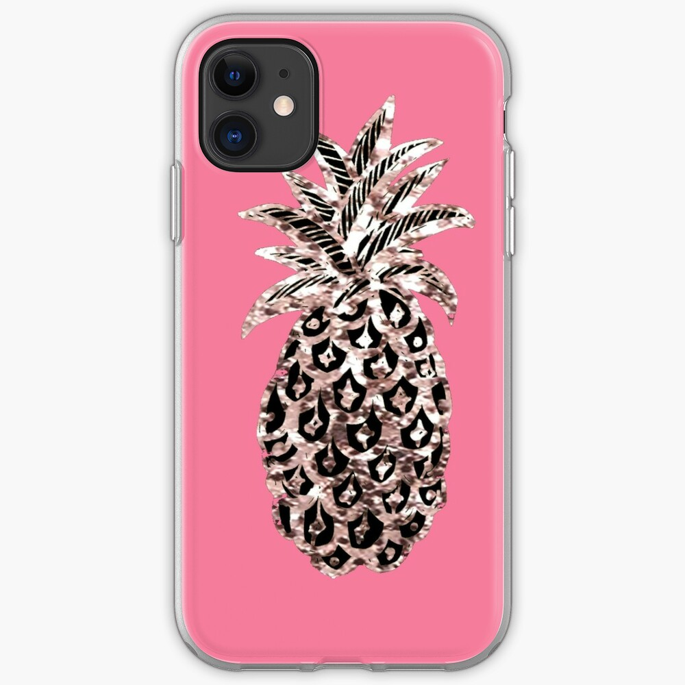 Pink pineapple Metallic  iPhone Case & Cover