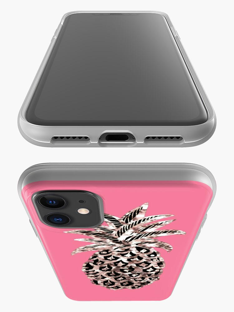 Alternate view of Pink pineapple Metallic  iPhone Case & Cover