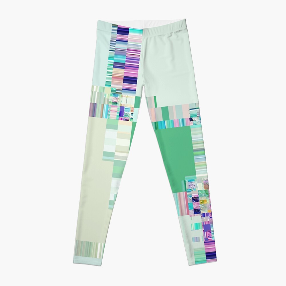 Abstract lines and colour green Leggings