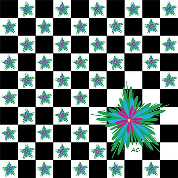 Irregular floral pattern on checkboard by iCraftCafe