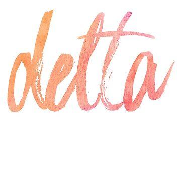 Delta - Cute Watercolor Sorority Greek Laptop Stickers by itswillharris