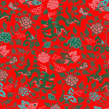 Dragons and Flowers Pattern by Greenbaby