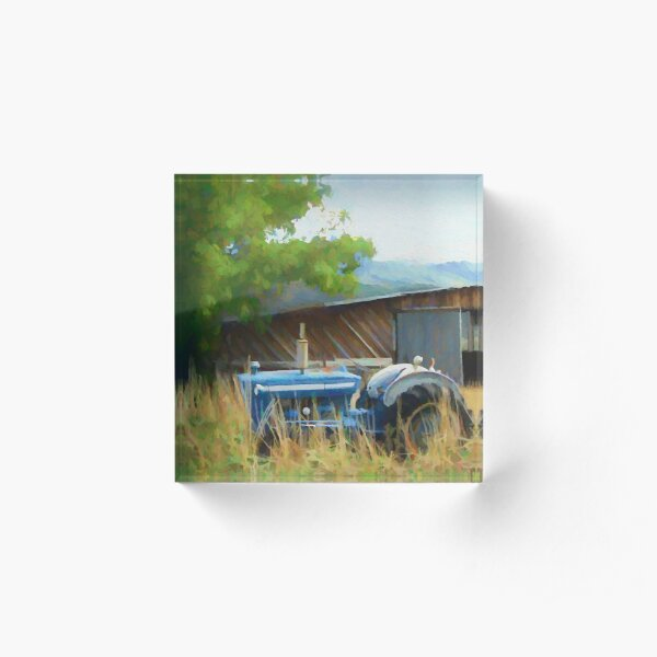 Abandoned Blue Tractor Acrylic Block
