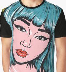 Blue Bangs Asian Comic Girl Graphic T-Shirt