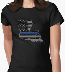 Louisiana Police & Law Enforcement Thin Blue Line Women's Fitted T-Shirt