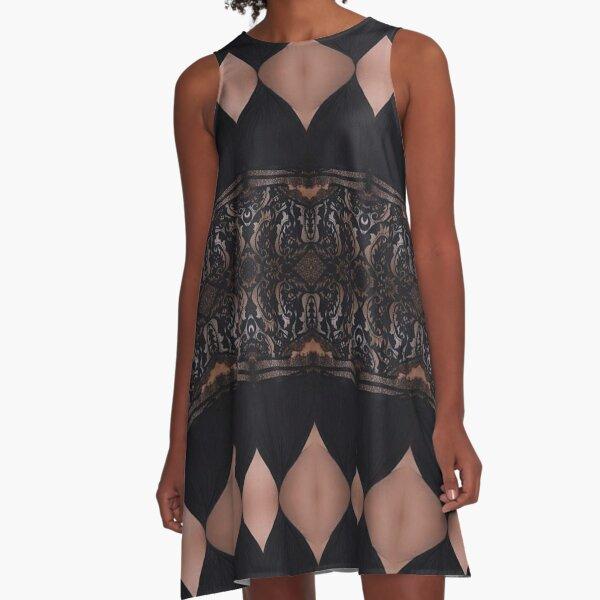 Lace, Schema, chart, proportion, adequacy, symmetry, fashionable, trendy, stylish A-Line Dress