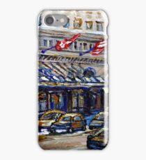 Rue Sherbrooke Best Canadian Original Art For Sale Ritz Carlton Paintings  Montreal Street Scenes iPhone Case/Skin