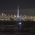 Night time....Auckland Harbour Bridge and Sky Tower............! by Roy  Massicks
