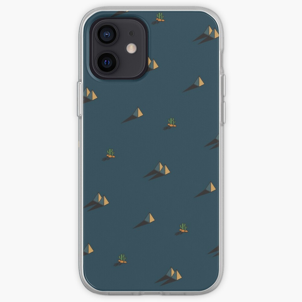 NIGHT - Egypt pyramid and cactus pattern in DARK BLUE iPhone Case & Cover