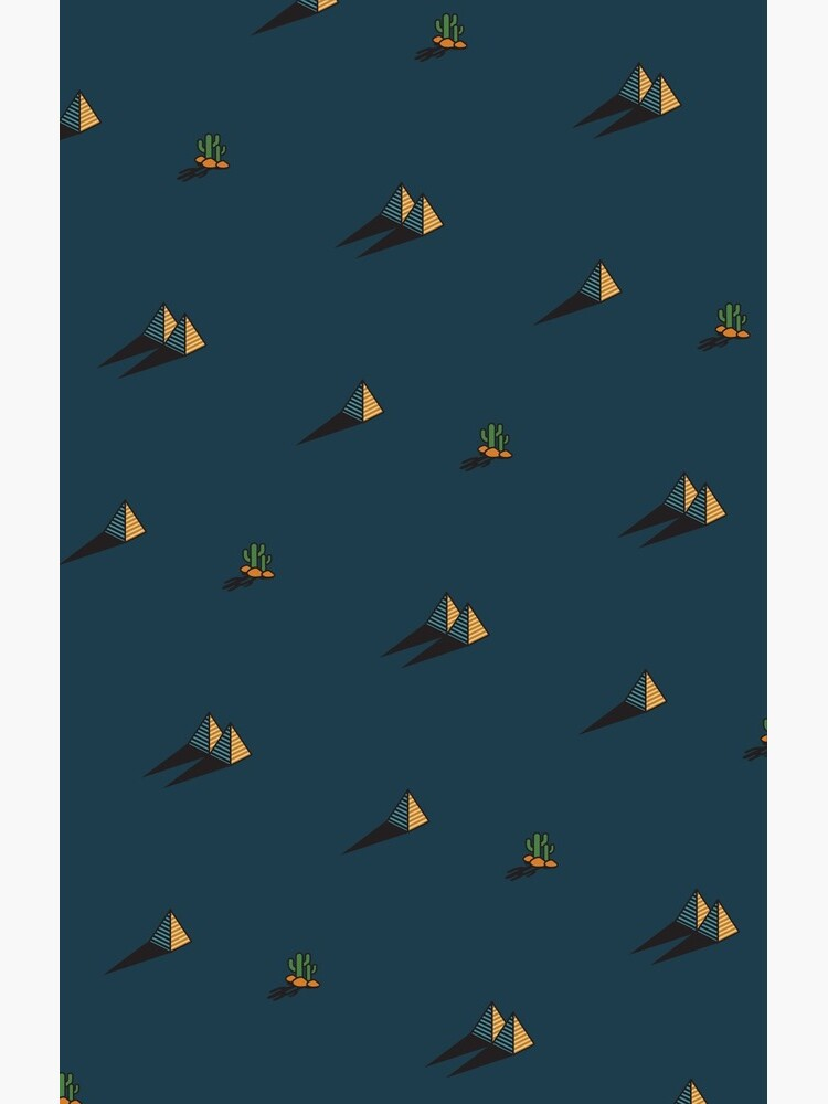 NIGHT - Egypt pyramid and cactus pattern in DARK BLUE by CitizenWong