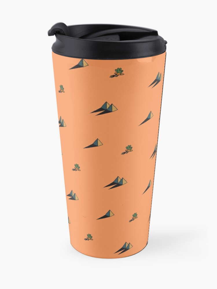 Alternate view of DAY - Egypt pyramid and cactus pattern in ORANGE Travel Mug