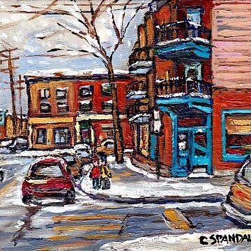 Rue Fairmount And Clark Wilensky Winter Scene Montreal Memories Painting Authentic Original Montreal Paintings by CaroleSpandau