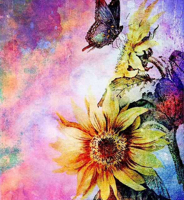 BUTTERFLY AND SUNFLOWER by Tammera