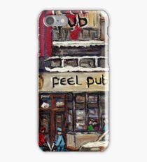 Peel Pub And Cafe Republique Rue Peel Montreal Winter Street Scene Paintings  iPhone Case/Skin