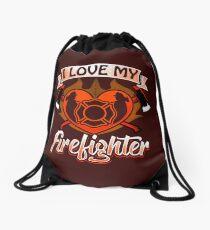 I love my firefighter  Firemans Wife Daughter Mother Dad Mom  Drawstring Bag