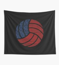 Distressed Volleyball USA Flag  Wall Tapestry