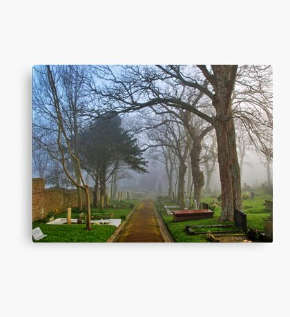 Foggy Path Through the Churchyard Canvas Print