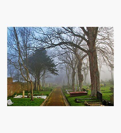 Foggy Path Through the Churchyard Photographic Print