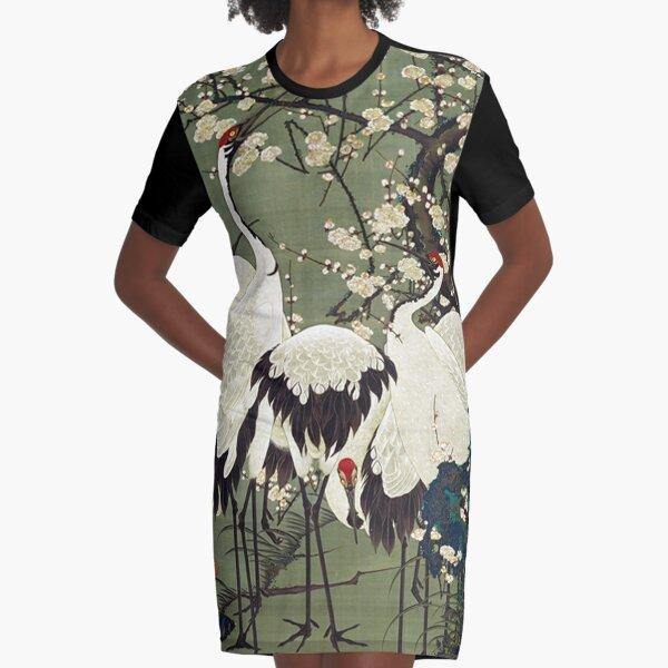 Favourite Artist - Plum Blossoms and Cranes - Ito Jakuchu Graphic T-Shirt Dress